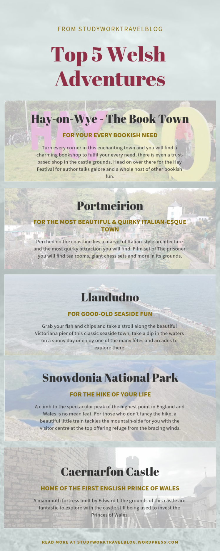 Top Welsh Weekenders Infographic Study Work Travel Blog
