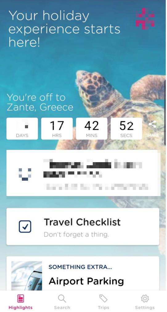 Travel app countdown