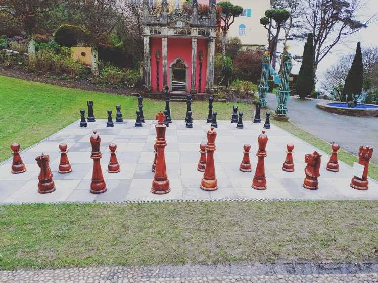 chess set at portmeirion