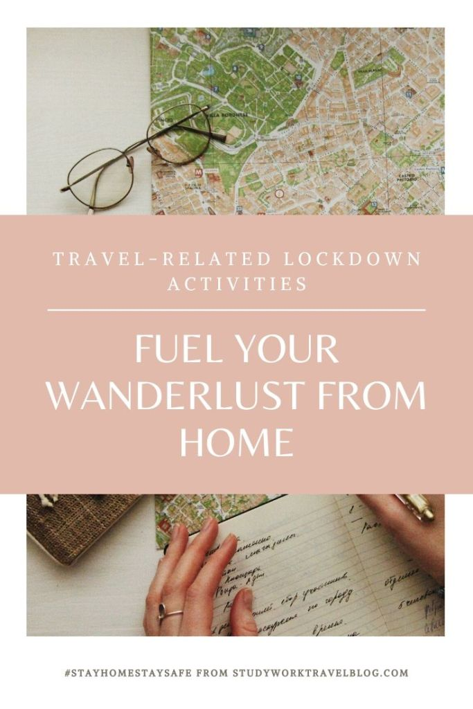 Travel-inspired activities to do at home pin.