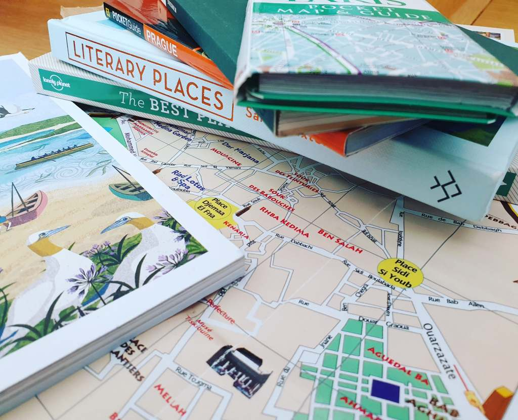 travel-related books and map